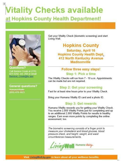 Humana Vitality Hopkins County Health Department